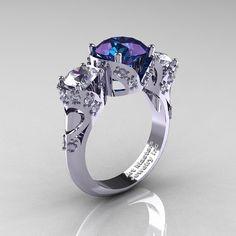 Scandinavian 14K White Gold 2.0 Ct Alexandrite White Sapphire Diamond Three Stone Designer Engagement Ring R406-14KWGDWSAL