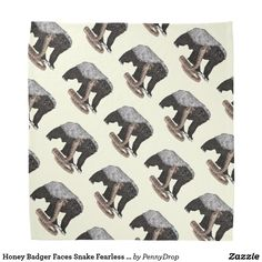 Honey Badger Faces Snake #fearless #honeybadger #art #bandana #animals #design