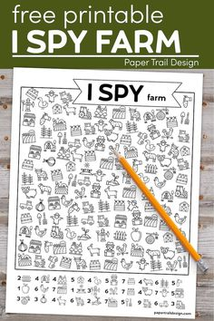 Print this I spy farm activity for toddlers, preschoolers, and kids. Keep kids learning and busy so you can get some work done or use for homeschool. #papertraildesign #farm #preschoolactivity #toddleractivity #kidsactivity