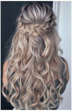 Braid Half Up Half Down, Wedding Hairstyles Half Up Half Down, Braided Half Up, Wedding Hair Down, Wedding Hairstyles For Long Hair, Box Braids Hairstyles, Elegant Hairstyles, Formal Hairstyles, Bride Hairstyles
