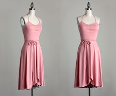 1970s Vintage Pink Full Ruffle Skirt Day Dress / Small