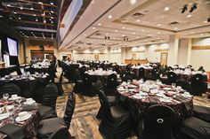 A beautiful full room decor. Black and brown decor, black chair covers with rhinestones, brown table linens. Table Linens, Table And Chairs, Black Chair Covers, Brown Decor, Calgary, Black And Brown, Floral Design, Elegant, Rhinestones