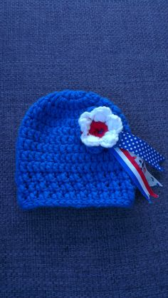 Baby beanie cobalt blue with red/white/blue rosette 0-3 months