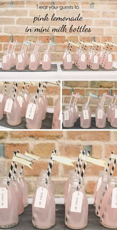Mini Milk Bottles With Straws ~ Treat Your Wedding Guests To Pink Lemonade in mini milk bottles #wedding all available to buy from www.theweddingofmydreams.co.uk