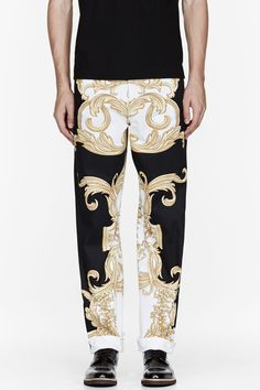 VERSACE Versace Black And Gold Rococo Print Runway Trousers
