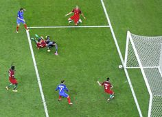 Andre-Pierre Gignac's shot rattles the post as the score remained 0-0.