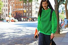 gorgeous in green. #LarissaHofmann #offduty   in NYC.