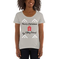 Excited to share this item from my #etsy shop: Merry Christmas Ya Filthy Animal Ladies' Scoopneck T-Shirt #shortsleeve #merrychristmas Merry Christmas Ya Filthy Animal, 30 And Single, Funny Shirts, Scoop Neck, Etsy Shop, Trending Outfits, Lady, T Shirt, Shopping