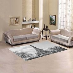 InterestPrint White Black Fantasy Eiffel Tower Area Rug C...