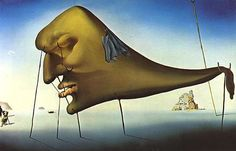 Reproduction de Dali, Sommeil. Tableau peint à la main dans nos ateliers. Peinture à l'huile sur toile.