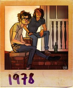 Sketch of the boys in front of their first flat by Art of Pan - James and Sirius