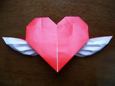 Origami Hearts | origami heart with wings this is easy and beautiful it is used a ...