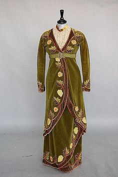 green velvet Directoire style dress in 1912 style with period applique embroidery