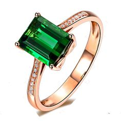 Luxurious 2 carat Green Emerald and Diamond Classic Engagement Ring in Rose Gold