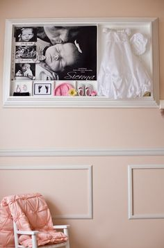 adorable - hospital prints, bracelet, baby hat with the dress she wore home and some great pictures.  this is a DIY project made from molding and beadboard