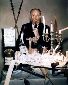"Hitchcock on the occasion of his 100th episode of ""Alfred Hitchcock Presents."""