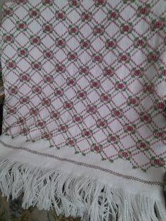 Swedish weaving afghan using the Rose Trellis pattern. Done by Cheri Wright
