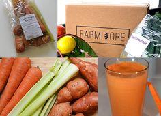 "Farmivore - Sweet Potato Medley Juice: 5 celery stalks,  3 carrots,  4 small sweet potatoes,  2 oranges,  1"" piece of ginger"
