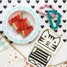 Even if the sun doesn't shine we love a delicious watermelon snack  Always in plentiful supply in our office thanks to our lovely Raz. Check out our dining category online for all these fab dining accessories and our new teething clouds by Fox Felts too! #ThisModernLife #ToddlersTable #Teething #TeethingToy