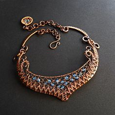 Fabulous Woven Copper & Crystal Collar Aqua OOAK by sparkflight