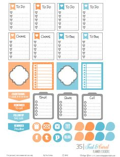 Teal and Coral Planner Stickers | Free printable download of planner stickers suitable for vertical weekly planners.