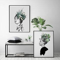 Art prints digital drawn by Linn Wold. Style Tropical, Deco Boheme, Green Style, Sculpture, Green Fashion, Draw, Art Prints, Digital, Home