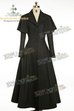 Elegant Goth Gothic,Royal Flannel Wool Coat&Cape $199, can make ankle length in cream wool, can remove cape