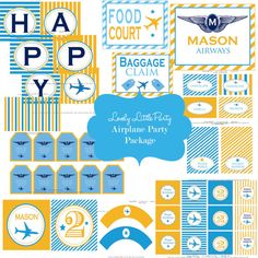 Printable Personalized Airplane/Airways  by lovelylittleparty, $26.50 Travel Baby Showers, Birthday Packages, Airplane Party, Craft Punches, Party Printables, Free Printables, Patterned Sheets, Tent Cards, Happy Birthday Banners