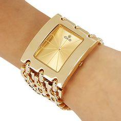 Brand New 2015 Stainless steel Chain fashion gold watch women wristwatches quartz watch watches