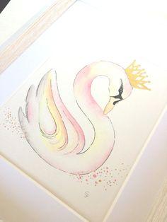 Original Swan Monogram Letter S Watercolor by RosalinaDesign
