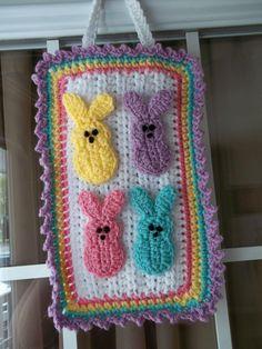 Easter Peeps door decoration--crochet