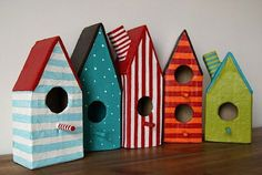 Stenciled Bird houses in bright colors!