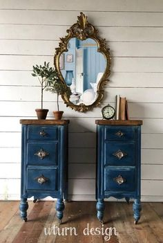 Your place to buy and sell all things handmade - Sold Sold Dark blue painted nightstands navy side Best Picture For bedroom decored For Your Taste - Teal Furniture, Painted Bedroom Furniture, Refurbished Furniture, Repurposed Furniture, Shabby Chic Furniture, Furniture Makeover, Home Furniture, Furniture Design, Antique Furniture