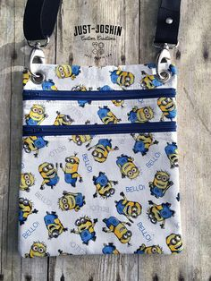 Available on @etsy Minions Despicable Me Minion Cross-body Bag Zip and Go Hipster Fandom Purse - RTS Handmade Cute Custom Bag by JustJoshinCreations #etsyfinds #etsy #handmade