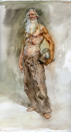"""""""Standing Knight"""" Robert Liberace watercolor on paper, 2017 Watercolor Portraits, Watercolour Painting, Painting & Drawing, Painting Abstract, Acrylic Paintings, Watercolors, Contemporary Paintings, Contemporary Design, Contemporary Architecture"""