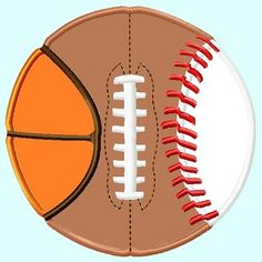 All in One Ball, football, baseball, basketball, Applique Embroidery Design,  3 sizes. $3.99, via Etsy.