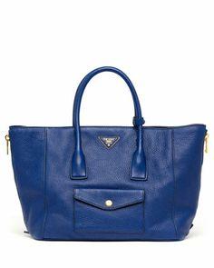 Daino Side-Zip Twin Pocket Tote Bag, Dark Blue by Prada at Neiman Marcus.