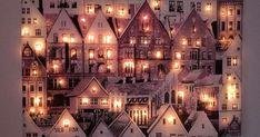 Valotaulu syntyy kaupunkia esittävästä kankaasta ja valonauhasta. Katso upeat toteutukset ja tuo valot uudella tavalla syksyiseen sisustukseen! Christmas Time, Christmas Crafts, Christmas Ideas, Light Up Canvas, Diy And Crafts, Arts And Crafts, Candy Art, Light Art, Holidays And Events