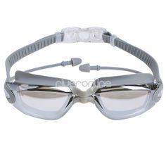 Adult Clear Silicone Anti-fog Swim Goggles Glasses Swimming Ear Plugs Nose Clip