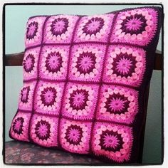 Vintage Flower Granny Square Cushion
