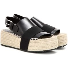 Balenciaga Leather Platform Espadrille Sandals ($615) ❤ liked on Polyvore featuring shoes, sandals, black, black platform shoes, leather platform sandals, platform shoes, black leather espadrilles and black platform sandals