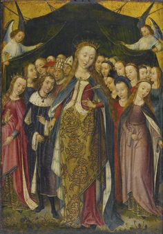 7. The Late Middle Ages: Woman in gown with fitted skirt, lifted to reveal gown under and plastron with broaches. Woman on the right wears an open mantle.