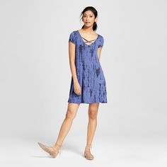 Women's Tie Dye Criss Cross T-Shirt Dress Navy (Blue) XS - 3Hearts (Juniors')