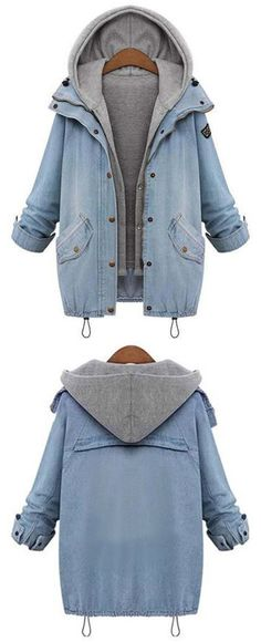 Amazing, Cupshe gives you warmer season~ Free Shipping! Outfits can be polished and super stylish as you image. Featuring Raglan sleeve and Zipper & Button at front, this denim two-piece coat should be a part of your world! Shop now~