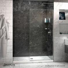Linea 34-inch x 72-inch Semi-Frameless Fixed Shower Door in Chrome