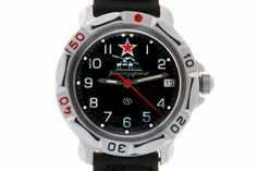 WATCH VOSTOK KOMANDIRSKIE 811306 USSR PANZERS. At the top of the watch face, at the twelve-hour point, there is a stylized emblem of the USSR Panzers (a sleeve patch) – a red five pointed star over the silhouette of a tank. #russian #mechanical #military #watches #vostok #komandirskie #tank #panzers #star #ussr #soviet #army