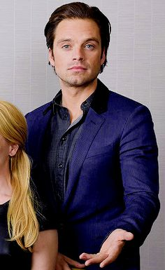 Sebastian Stan. The way that blue jacket brings out the color of his eyes. He should always wear blue. All the time. Every day.