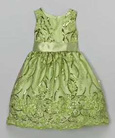 Another great find on #zulily! Light Green Floral Sequin A-Line Dress - Infant, Toddler & Girls by Kid Fashion #zulilyfinds