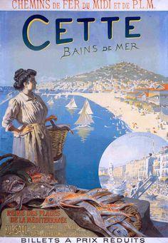 Affiche chemin de fer du Midi et PLM - Cette, bains de mer - ville de Sète - 1900 - (Toussaint Roussy) -