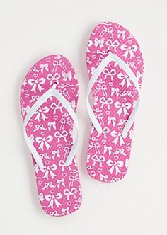 Pink Bow Tied Flip Flops